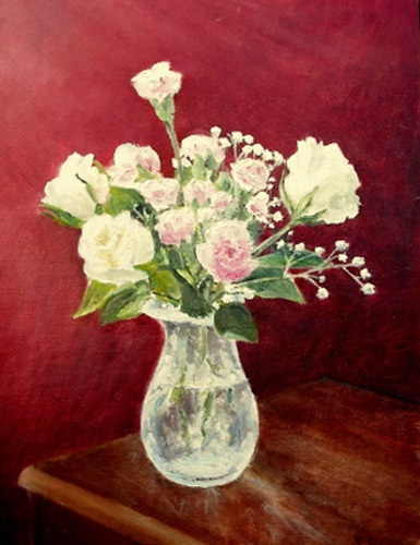 Roses and Lilies of the Valley in Glass Vase