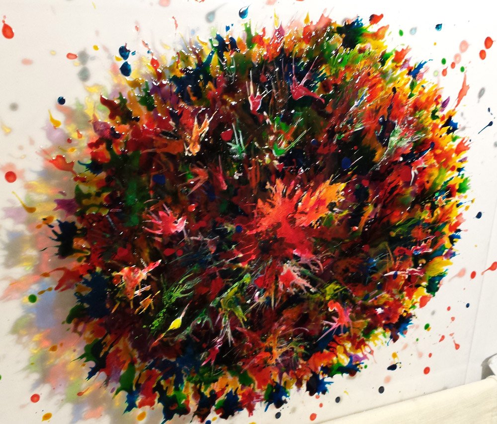 Colour Burst ; Mixed media on perspex