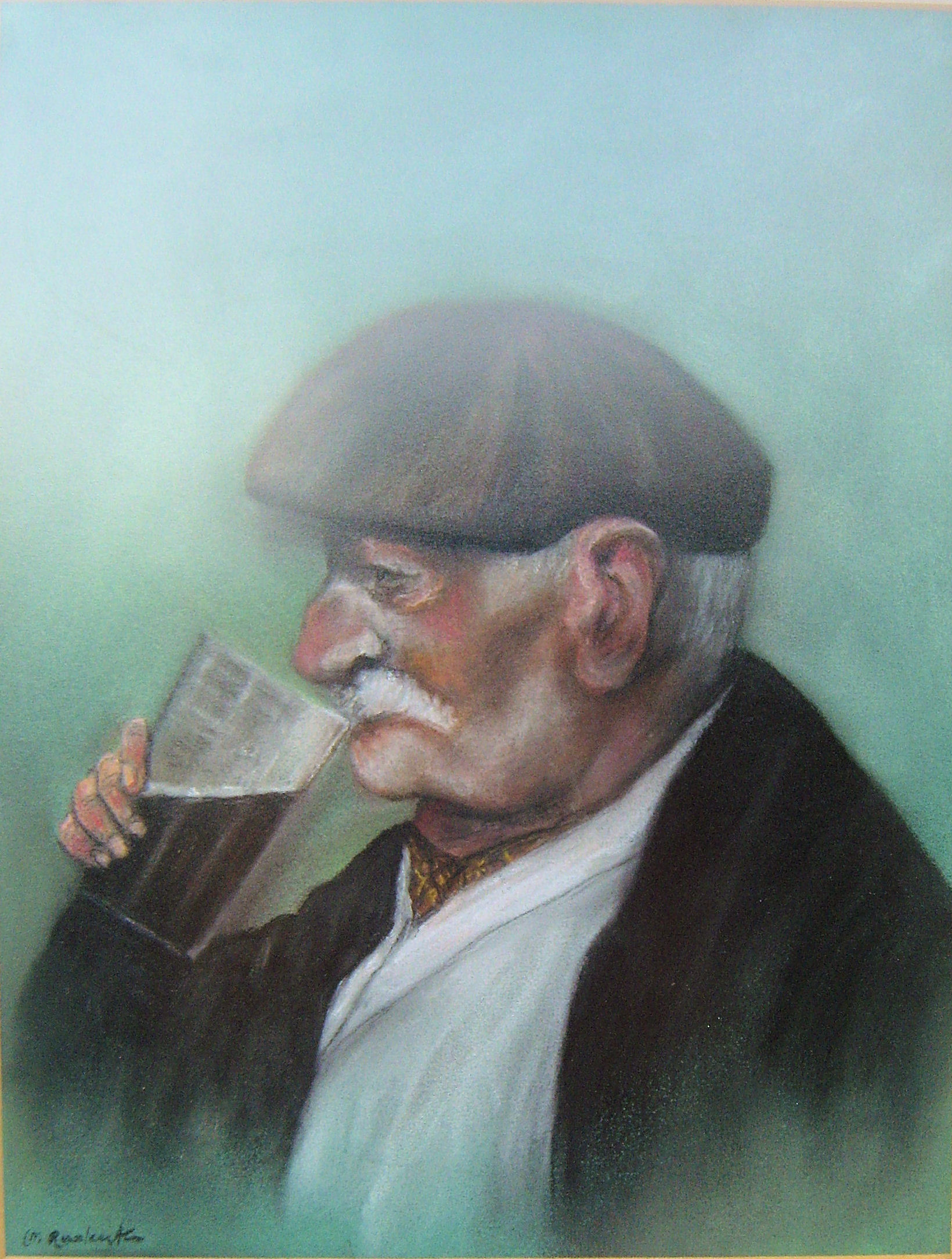 Old man drinking beer